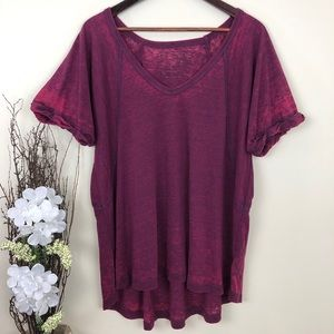 Free people purple boho short sleeve tunic top